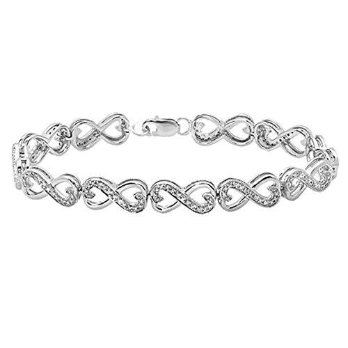 Dazzlingrock Collection 0.30 Carat (ctw) Round White Diamond Ladies Infinity Heart Tennis Link Bracelet 1/3 CT, Sterling Silver
