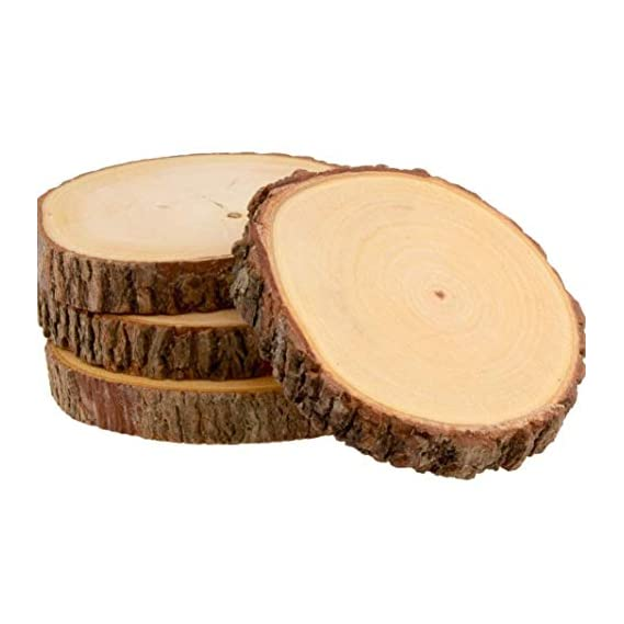 T One Woods Round DIY Craft Wooden Log Natural Bark Coaster/Slices, 3 Inches Size - Set of 6