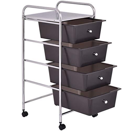 4 Drawers Metal Rolling Storage Cart by Apontus