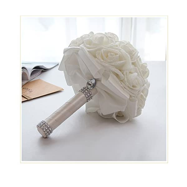 Wedding Bouquet Holder White Rose Bridesmaid Crystals Soft Ribbons Big Size New