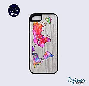 iPhone 5 5s Tough Case - Colorful Wood Print World Map iPhone Cover by icecream design