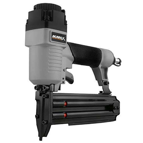 "NuMax SBR50 Pneumatic 18-Gauge 2"" Brad Nailer Ergonomic and Lightweight Straight Brad Gun with Reload Indicator for Moulding, Baseboard, Trim, Doors, and Handrails"