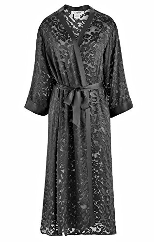 Nyteez Women's Silk Burnout Long Robe Kimono Dressing Gown (Black, Queen Size)