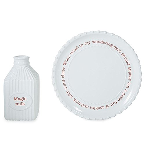 Mud Pie 42200001 Farmhouse Inspired Santa Milk Cookie Plate Set, One Size, White/Red