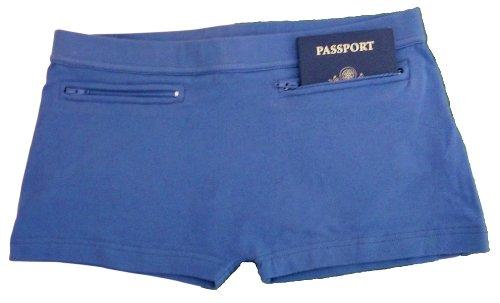 Inteligente Compañero de viaje mujeres a prueba de carteristas y pérdida de viaje seguridad ropa interior con bolsillos de seguridad oculta Azul