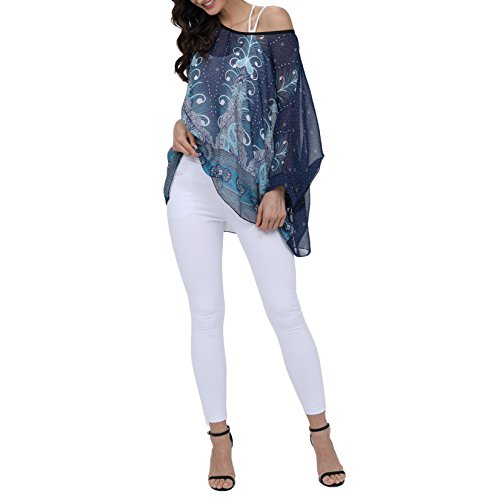 a45d203a5a1b Outlet Yying Manga 3/4 Camisetas Para Mujer - Elegante Estampado Floral  Cover Up Gasa Shirt Moda Casual Blusa Camisa Tops Tallas Grandes - ...