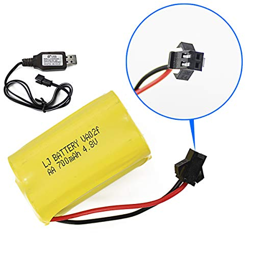 Fistone Spare Rechargeable 4.8V 700mAh Nicd AA Battery Pack for RC Bus, RC Truck Farm Tractor Construction Vehicle Remote Control Toy with Charging Cable SM 2P Plug