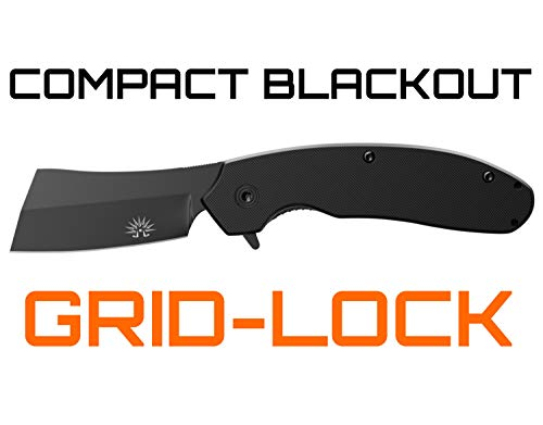 Off-Grid Knives - OG-950XB Cleaver Compact Blackout - Hard Use Legal Carry EDC Folding Knife, Safety Grid-Lock Turns This Folder Into a Fixed Blade, Cryo AUS8 Blade with TiNi, G10, Tip-Up Deep Carry by Off-Grid Knives (Image #1)