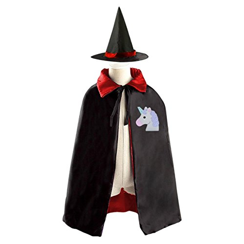 DIY cute unicorn Costumes Party Dress Up Cape Reversible with Wizard Witch Hat