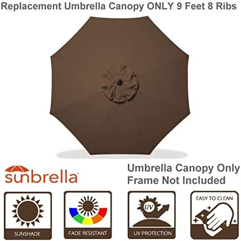 Shadeprotection Sunbrella Fabric Umbrella Replacement Canopy Only for 9 feet 8 Ribs Outdoor Patio Umbrella Acrylic Sunbrella, Coffee