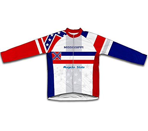 - ScudoPro Mississippi Flag Long Sleeve Cycling Jersey for Men - Size 4XL