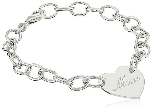 Sterling Silver Mom Heart Bracelet, 7.5'' by Amazon Collection