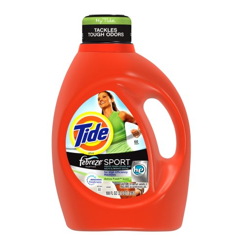 Tide plus Febreze Freshness Sport, HE, Active Fresh Scent with Acti-Lift, 100-Ounce (Pack of 4) by Tide