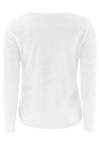 Scollato Peloso Top Davanti Donne Aperta Solido Si Le Outcoat White Maglione L'inverno qU8wvEv