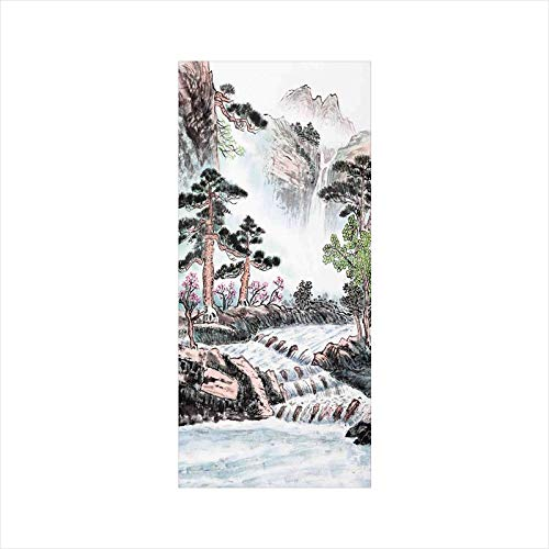 Decorative Window Film,No Glue Frosted Privacy Film,Stained Glass Door Film,Mountain and River Painting Effect Pine Trees Floral Design,for Home & Office,23.6In. by 35.4In