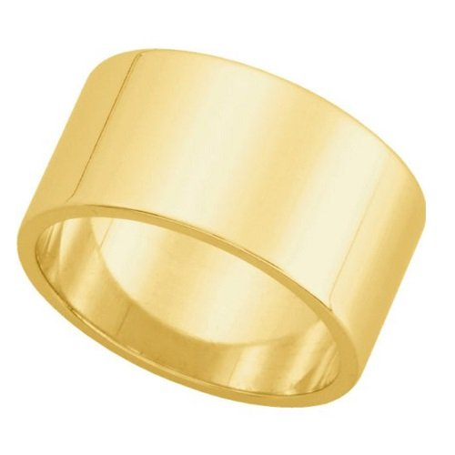 (Amythyst Yellow Tone Stainless Steel Extra Wide 14mm Band / Ring (Size 12))
