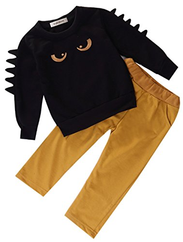 stylesilove Little Boy Chic and Fun Monster Long Sleeve Cotton Top and Pants 2 pcs Outfit Set (120/4-5 -