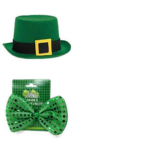 JGT St. Patrick's Day Leprechaun Costume for Men (1) St. Patrick's Day Felt Top Hat (1) Green Sequined Bow Tie and (1) Bonus Me-Own Coins- Bundle of 3