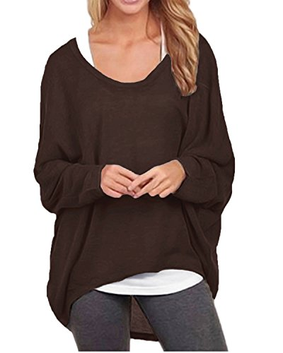 ZANZEA Women's Sexy Long Batwing Sleeve Loose Pullover Casual Top Blouse T-Shirt Coffee US 6/Tag Size S