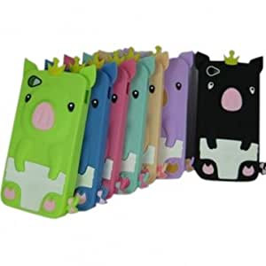 Iphone 4 4s Korea pig design Silicone Back Cover case --- Color:Blue