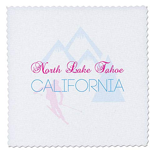 - 3dRose Alexis Design - American Skiing Places - North Lake Tahoe, California Decorative Text of Blue and red Color - 10x10 inch Quilt Square (qs_302134_1)