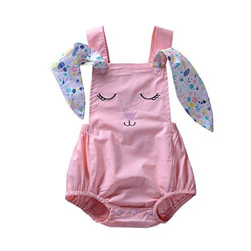 - Easter Outfits Baby Girls Rabbit Flower Animal Print Romper Sleeveless Bodysuit Infant Kids Jumpsuit Playsuit Clothes Summer (Pink, 2-3 Years)