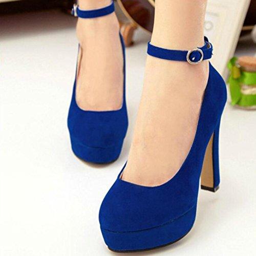 Longra Tinta unita Moda Donna Flock Materiale superiore Scarpe Cinturino alla caviglia Tacchi alti Scarpe Scarpe con plateau Pompe (EU Size:37, Blu)