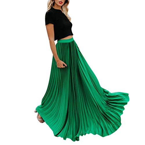 Womens Fashion High Waist Fold Soild Vintage Loose Beach Wrap Maxi Long Skirt