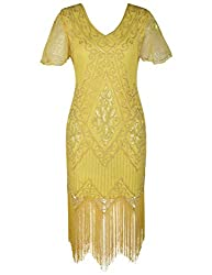 Yellow 1920s Sequin Art Dress with Sleeve