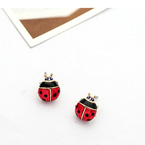 Rose Gold Plated Red Ladybug Black Spots Animal Stud Earrings Fashion Jewelry for Girls by Gift for Girls (Image #3)