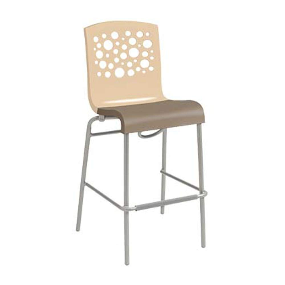 Grosfillex US838413 Tempo Stacking Barstool, Beige with Taupe Seat (Case of 2)