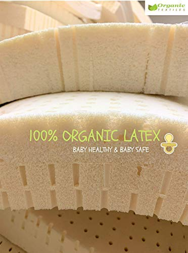"""Mini Sleeper 18x31 for: Portable Made in USA Cradle Organic Latex Crib Mattress Topper Pad 2/"""" Inch GOLs Certified Natural Wool Cover Toxic Free Baby Bedding Playard Standard Crib"""