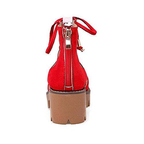 COOLCEPT Mujer Moda Cordones Sandalias Hueco Peep Toe Tacon Ancho Plataforma Zapatos Cremallera Rojo