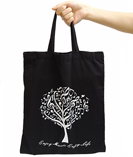 Stronger Cotton Bag, OPOCC Music Cute Canvas Bag Thin-Soft-Portable for All People (Black Tree) (Sipper Bike)