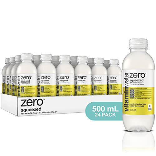 vitaminwater zero squeezed, electrolyte enhanced water w/ vitamins, lemonade drinks, 16.9 fl oz, 24 -