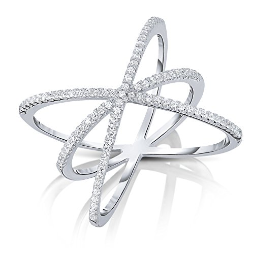 Used, Sterling Silver Cubic Zirconia CZ Triple Criss-cross for sale  Delivered anywhere in USA