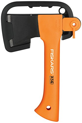 Fiskars Camping Axe XXS X5, Storage and Carrying Case Included, Length: 23 cm, Non-stick Coating, Weight: 480 g, Steel Blade/Reinforced plastic handle, Orange, 1015617