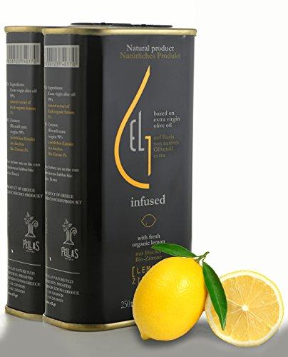 Pellas Nature   Fresh Organic Lemon Infused Extra Virgin Olive Oil   Ultra Premium Tin   Single Origin   8.45 oz 250ml (2 Pack)