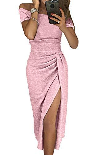Women Semi Formal Dresses -Off The Shoulder Wrap Front Slit Sparkly Midi Evening Dress Party Wear Pink]()
