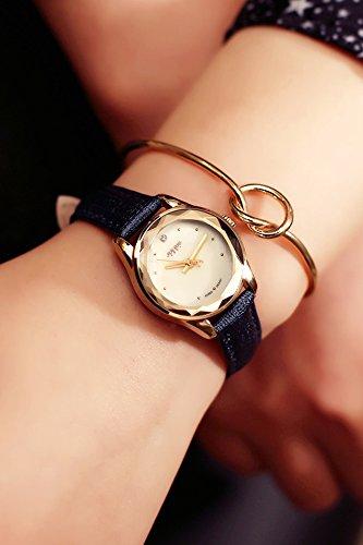 Korea When Woman Gift Creative Small Diamond dial Ladies Watch Waterproof Leather Belt (Blue