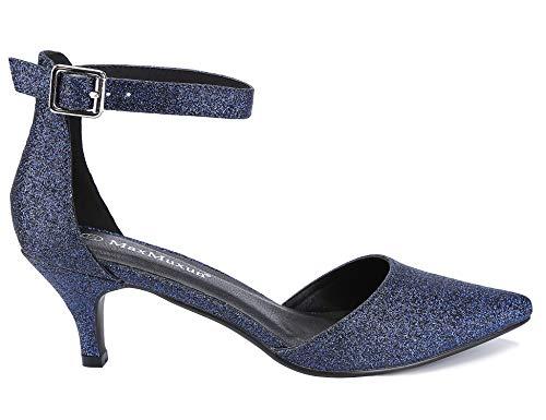Zapatos De Tacón Glitter Maxmuxun Upper Tacones Mujer Azul Court pCvdw