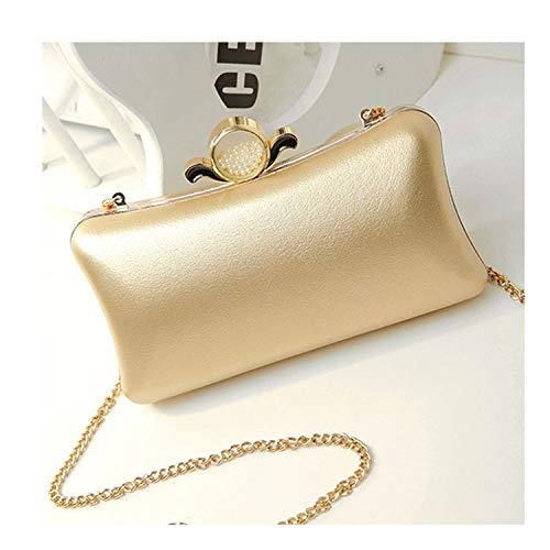 (Gold Silver Evening Purse Women Pink Pu Leather Pearl Hand Bag Chain Shoulder Day Clutch Bags Handbag Black,Gold,Mini)