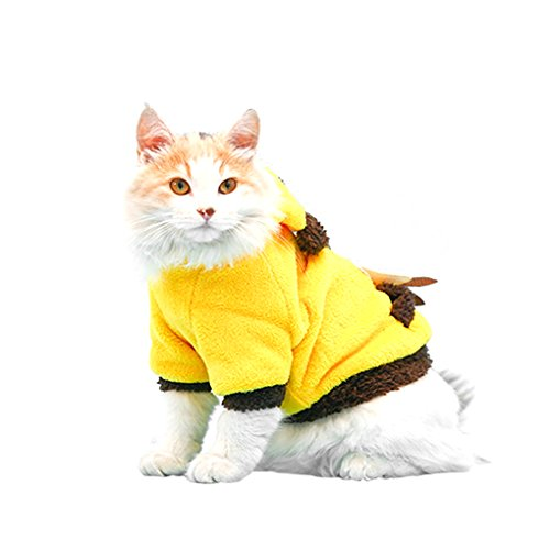 Lovely Cartoon Soft Warm Coral Fleece Pet Hoodie Coat Jacket Clothes Winter Autumn No Cold Thick Velvet Hooded Sweater Jumpsuit Outfit Christmas Costume Apparel for Puppy Teddy Dogs Cats-Yellow, (Toothless Costume For Cat)