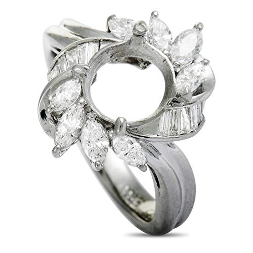 Luxury Bazaar Platinum Marquise and Tapered Baguette Diamonds Mounting Ring