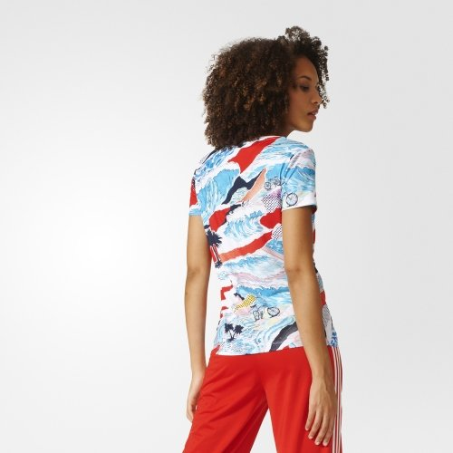 Camiseta Mujer Adidas Trefoil Multicolor Tee qwwHZE