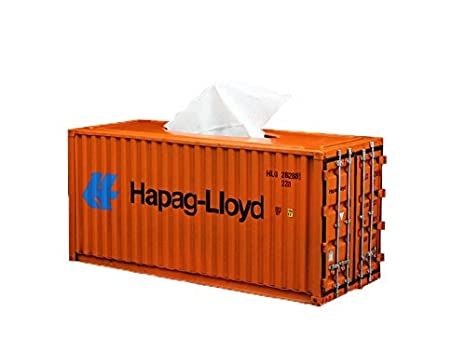 Decor Metal Container Shipping Tissue Box Cover (Large, Orange)