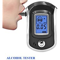 True Sense ALC AT6000 Alcohol Tester Detector Digital Portable LCD Display Breath Analyser Police Alcohol Breathalyzer with 5 Mothpiece