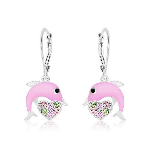 (Premium 8MM Crystal with Pink Enamel Dolphin Leverback Kids Baby Girl Earrings With Swarovski Elements By Chanteur   925 Sterling   Perfect Gift For)