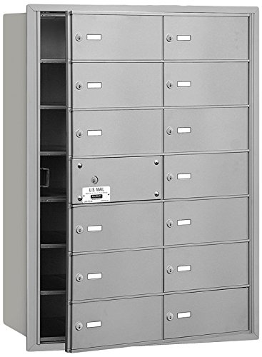 Salsbury Industries 3614AFU 4B Plus Horizontal Mailbox, 14 B Doors 13 Usable, Front Loading, USPS Access, Aluminum (Usps Master Lock)