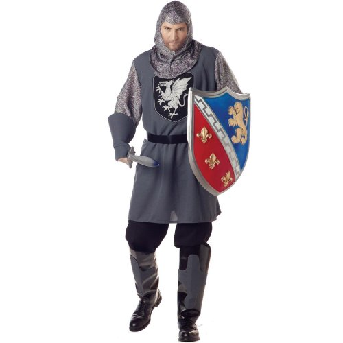 [California Costumes Men's Valiant Knight Costume, Gray/Silver/Black, X-Large] (Medieval Mens Costumes)